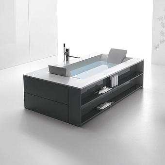 Ванна отдельностоящая с рамой и аэромассажем Hafro Sensual прямоугольной формы, 220х120х60 см, DX, цвет белый/серый