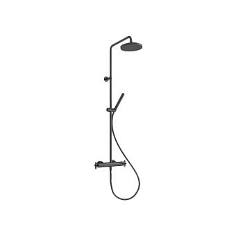 Cristina Cross Road Душевой комплект: смеситель термостатический, стойка с верхним душем, ручной душ, гибкий шланг, цвет: черный матовый