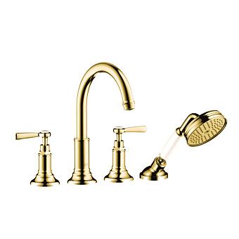 Axor Montreux Смеситель для ванны, монтаж на плитку, на 4 отв, с ручным душем излив 196мм , цвет: полированное золото