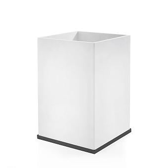 3SC Mood Deluxe Ведро, без крышки, 20х30х20 см, композит Solid Surface, цвет: белый матовый/черный матовый