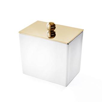 3SC Mood White Баночка универсальная, 10х10х7 см, с крышкой, настольная, композит Solid Surface, цвет: белый матовый/золото 24к.