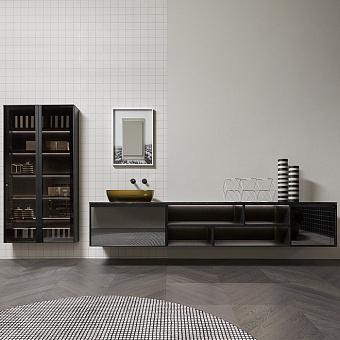 Antonio Lupi Bemade Комплект подвесной мебели с тумбами и базой под раковину, раковиной SENSO, подвесным пеналом 175 см, зеркалом COLLAGE, 72 см, цвет: Argentato fume