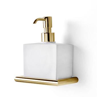 3SC Guy Дозатор для жидкого мыла, подвесной, композит Solid Surface, цвет: белый матовый/золото 24к. Lucido