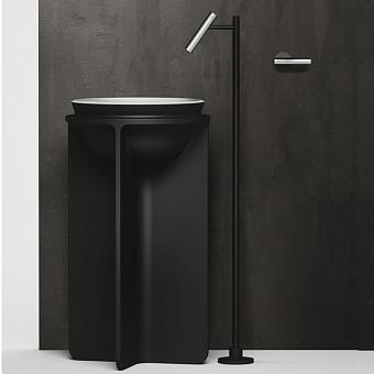 Falper Cilindro Смеситель для раковины, настенный, излив напольный, цвет: нержавеющая сталь/черный