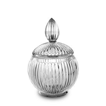 3SC Elegance Баночка универсальная, D=12/h18 см, с крышкой, настольная, цвет: прозрачный хрусталь/хром