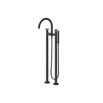 Cristina Cross Road Смеситель для ванны с ручным душем, напольный, цвет: черный матовый