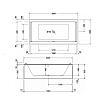 Duravit STARCK Ванна акриловая  прямоугольный вариант 2000x1000х460 mm, с 2 наклонами  для спины, цвет белый