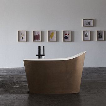 Antonio Lupi Mastello Ванна отдельностоящая 1350х750х870 мм, с нажимным донным клапаном, сифоном и гибким шлангом, Flumood, цвет: Rame