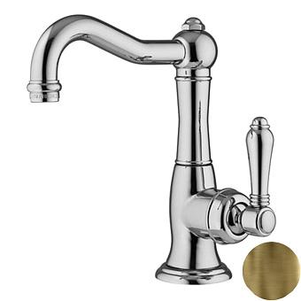 Nicolazzi P.m. Blanc Смеситель для раковины однорычажный, с донным клапаном, ручки белая керамика, цвет: Bronze Plated