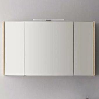 CERASA Velvet Зеркальный шкаф 120х63х17 см, двухстороннее зеркало, 2 дверки, 4 стеклянные полки , цвет Tavolato Biscottoполки, Led светильник , цвет Tavolato Biscotto