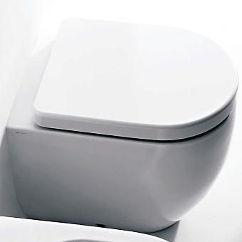 Kerasan Flo унитаз приставной 52см, слив в стену, с белым сиденьем Slim