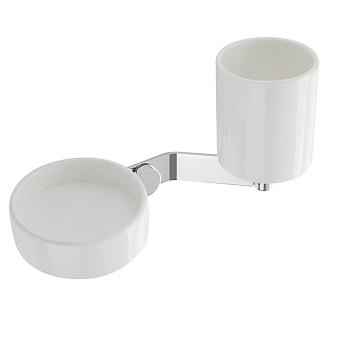 StilHaus Bucket Стакан + дозатор, цвет: хром/белая керамика