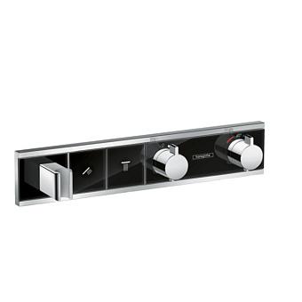 Hansgrohe RainSelect Смеситель для душа, термостатический, встраиваемый, с переключателем на 2 потока, цвет: черный/хром