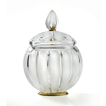 3SC Montblanc Баночка универсальная, D15хh20 см, с крышкой, настольная, цвет: прозрачный хрусталь/золото 24к. Lucido