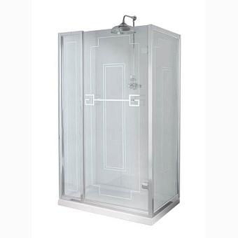 Душевое ограждение Gentry Home Athena 110х80 см угловое (слева/справа), дверь, две фиксированные панели, прозрачное, закаленное стекло 8 мм с греческим матовым декором, ручка и профиль - хром