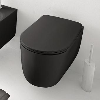 Kerasan Nolita Унитаз безободковый подвесной 55х35 см, с креплениями WB9N, цвет черный матовый