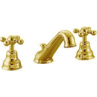 CISAL Arcana Ceramic Смеситель для раковины на 3 отверстия с донным клапаном, цвет золото