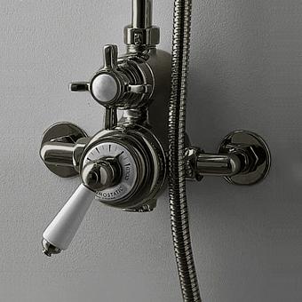 Devon&Devon Doccia Термостат наружного монтажа, для душевой для стойки, с белой ручкой, цвет: никель