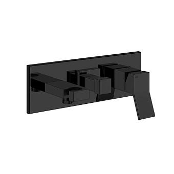 Gessi Rettangolo K Смеситель для раковины, встраиваемый, однорычажный, c подводом воды, держателем лейки и переключателем PULL, цвет: Black XL