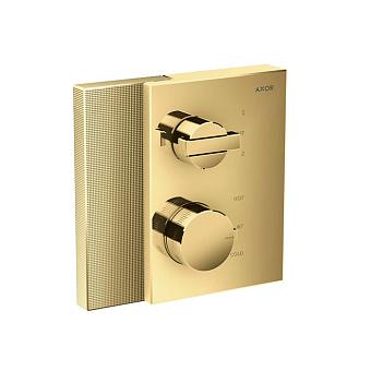 Axor Edge Смеситель для душа, встраиваемый, термостат, на 2 источника, с запорным вентилем, алмазная огранка, цвет: золото