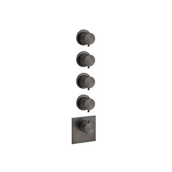 """Gessi 316 Встраиваемый термостатический смеситель на 4 источника, резьба 3/4"""", цвет: brushed black metal pvd"""