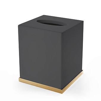 3SC Mood Deluxe Black Контейнер для бумажных салфеток, 12х12х14 см, квадратный, настольный, композит Solid Surface, цвет: чёрный матовый/золото 24к.