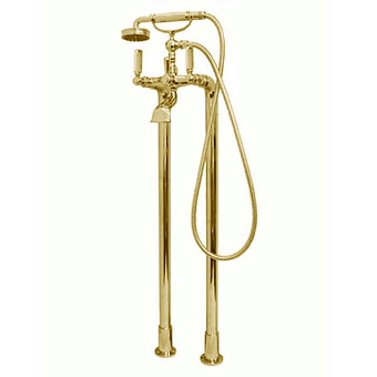 """Bossini Liberty Смеситель для ванны, напольный, высота 890 мм, душ лейка Liberty шланг латунь, 150 см ½""""FF, цвет: золото"""