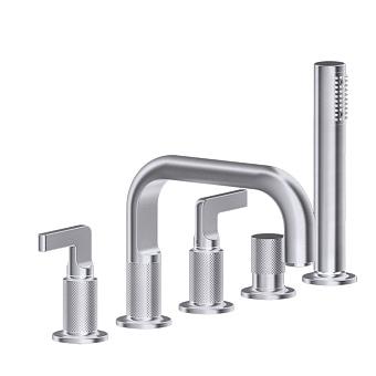 Gessi Inciso Смеситель для ванны на 5 отверстий с изливом, переключателем, ручным душем и шлангом 1,50 м, цвет: finox