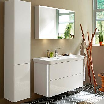Burgbad Iveo Комплект мебели с раковиной 1000 мм c LED подсветкой тумбы 11Вт без вкл/выкл, цвет: белый глянец