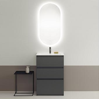 Burgbad Lin20 Комплект мебели 63х41.5х91.2см, напольный, с раковиной, с зеркалом LAVO 2.0, с 3 ящиками, цвет: Grey dark matt