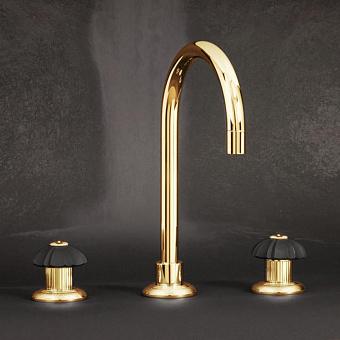 Cristal et Bronze Star Charles X Смеситель для раковины с поворотным изливом, цвет золото 24 к.