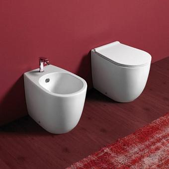 SIMAS Vignoni унитаз напольный приставной безободковый 56х36,5см, слив универсальный с белым