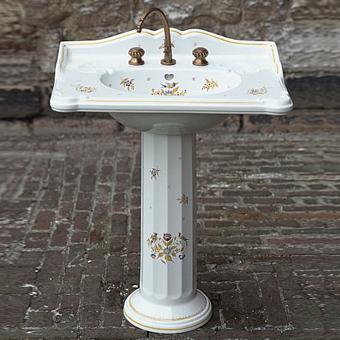 Herbeau Charleston Раковина на колонне, 70х51 см, цвет белый с декором