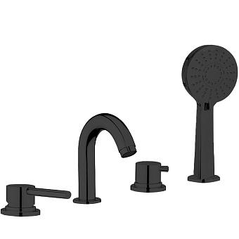 Webert Elio Смеситель для ванны, набортный, 4 отв., цвет: хром/черный