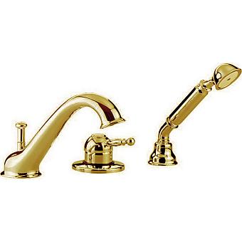 CISAL Arcana Royal Смеситель однорычажный на борт ванны на 3 отверстия,излив 200 мм, цвет золото