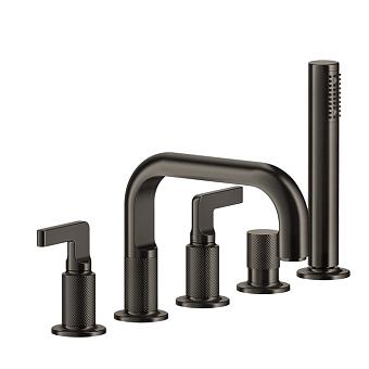 Gessi Inciso- Смеситель для ванны на 5 отверстий с изливом, переключателем, ручным душем и шлангом 1,50 м, цвет: black XL