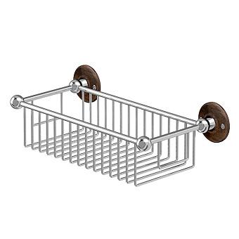 Burlington Black Корзинка-решетка для ванны глубокая 33х15.5см., цвет: xром/орех
