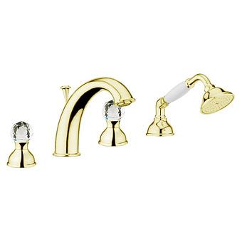 Смеситель на борт ванны Webert Karenina КА730101 Золото/кристаллы Swarovski