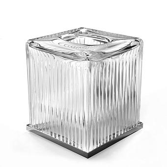 3SC Elegance Контейнер для бумажных салфеток, 13х13х15 см, квадратный, настольный, цвет: прозрачный хрусталь/хром