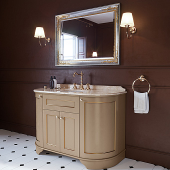 TW York Nuovo Комплект мебели, с мраморной столешницей с 3 отв. и зеркалом, 130см, Цвет базы: pennellato/oro, мрамор: diano