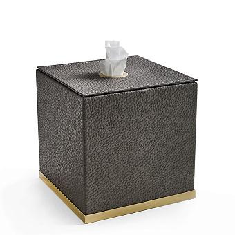3SC Milano Контейнер для салфеток, 14х14хh14 см, настольный, цвет: коричневая эко-кожа/золото 24к. Lucido