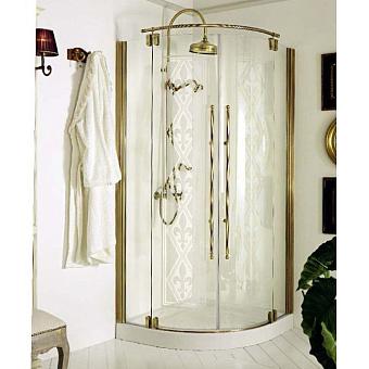 Душевое ограждение Eurodesign 90x90xh195 см, полукруглое, с 2 дверями, профиль бронза