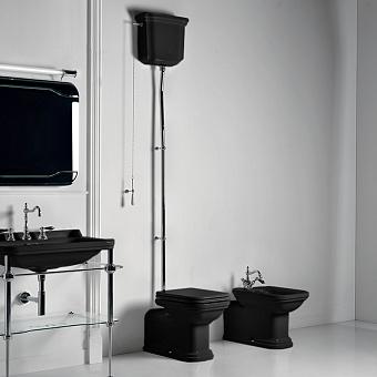 Kerasan Waldorf Унитаз  пристенный удлиненный 65х37см, с высоким бачком, трубой, цвет: черный/хром, СИДЕНЬЕ НА ВЫБОР