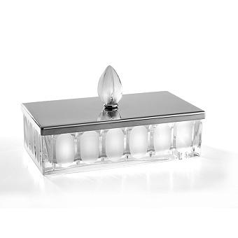 3SC Montblanc Коробочка универсальная, 23х12,5хh7см, с крышкой, настольная, цвет: прозрачный хрусталь/хром