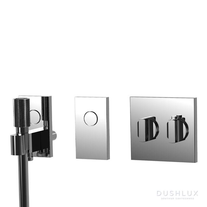 Carlo Frattini Switch Смеситель для душа встраиваемый, термостатический, на 2 положения, ручной душ и черный шланг 1500мм, внешн часть, цвет: хром