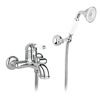 Nicolazzi P.m. Blanc Смеситель для ванны однорычажный, настенный, с ручным душем, ручки белая керамика, цвет: хром