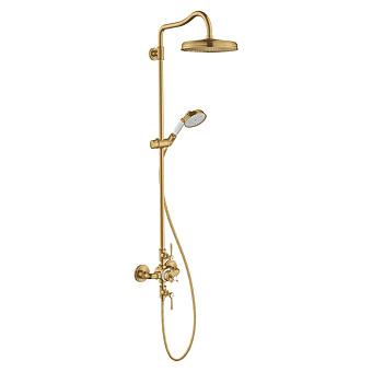 Axor Montreux Showerpipe Душевая стойка, с верхним душем d24см, термастатическим смесителем, шлангом и ручным душем, цвет: шлифованное золото