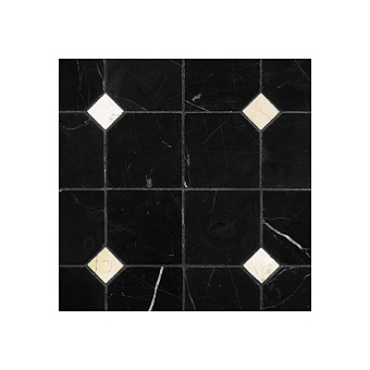 Devon&Devon Elite Плитка из натурального камня 60x60см, универсальная, мрамор, elite 3, цвет: black marquinha/crema marfil