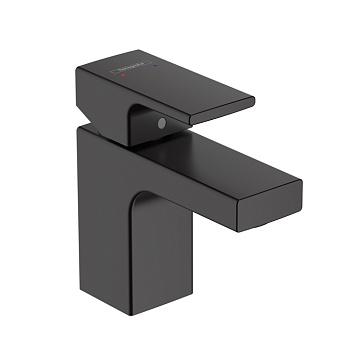 Hansgrohe Vernis Shap Смеситель для раковины, излив 70 мм, со сливным гарнитуром, цвет: матовый черный