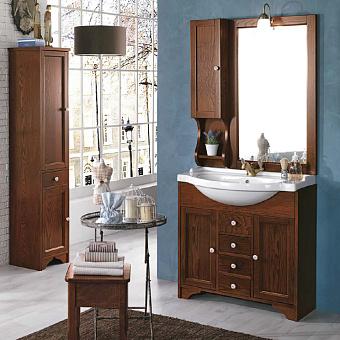 EBAN Eleonora Комплект мебели, с раковиной и светильником, зеркалом со шкафчиком слева, 107см, Цвет: noce